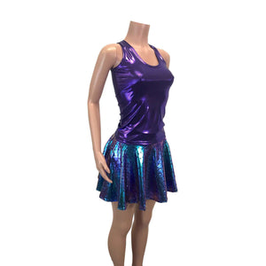 Mermaid Costume - Holographic Mermaid Scales Skater Skirt & Purple Tank Outfit - Peridot Clothing