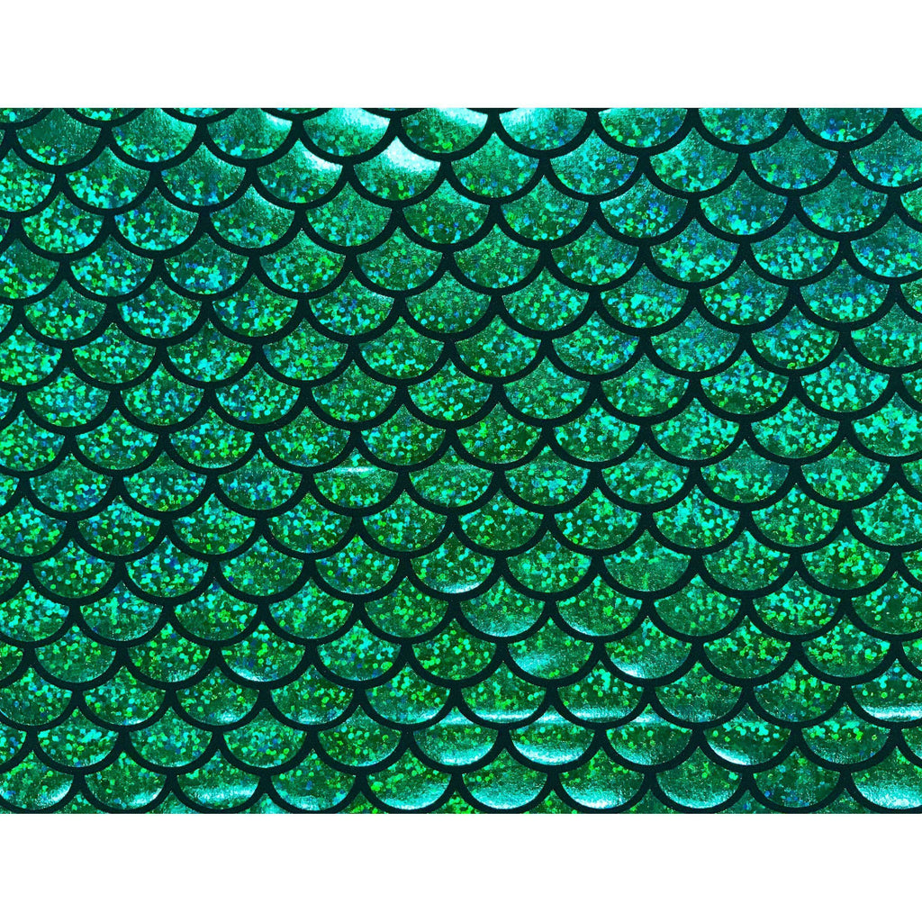 Mermaid Holographic Green Scales Poly Spandex Stretch Fabric by-the-yard - Peridot Clothing