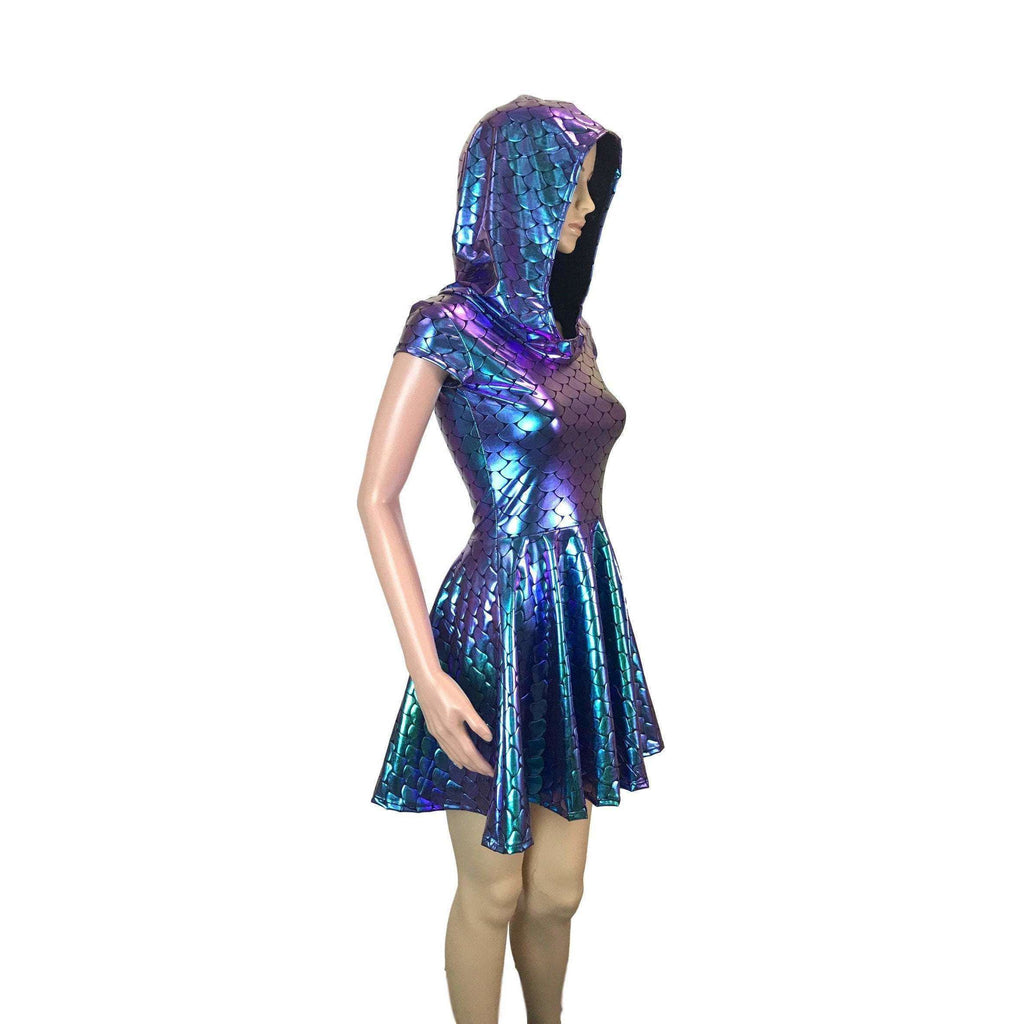 Mermaid Scales Holographic Cap Sleeve Hoodie Skater Dress - Peridot Clothing