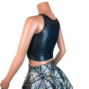 Mesh Inset Crop Tank - Black Shattered Glass Holographic - Peridot Clothing