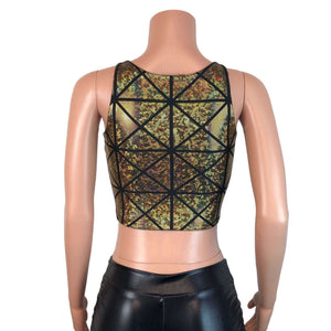 Mesh Inset Crop Tank - Gold Glass Pane Holographic - Peridot Clothing