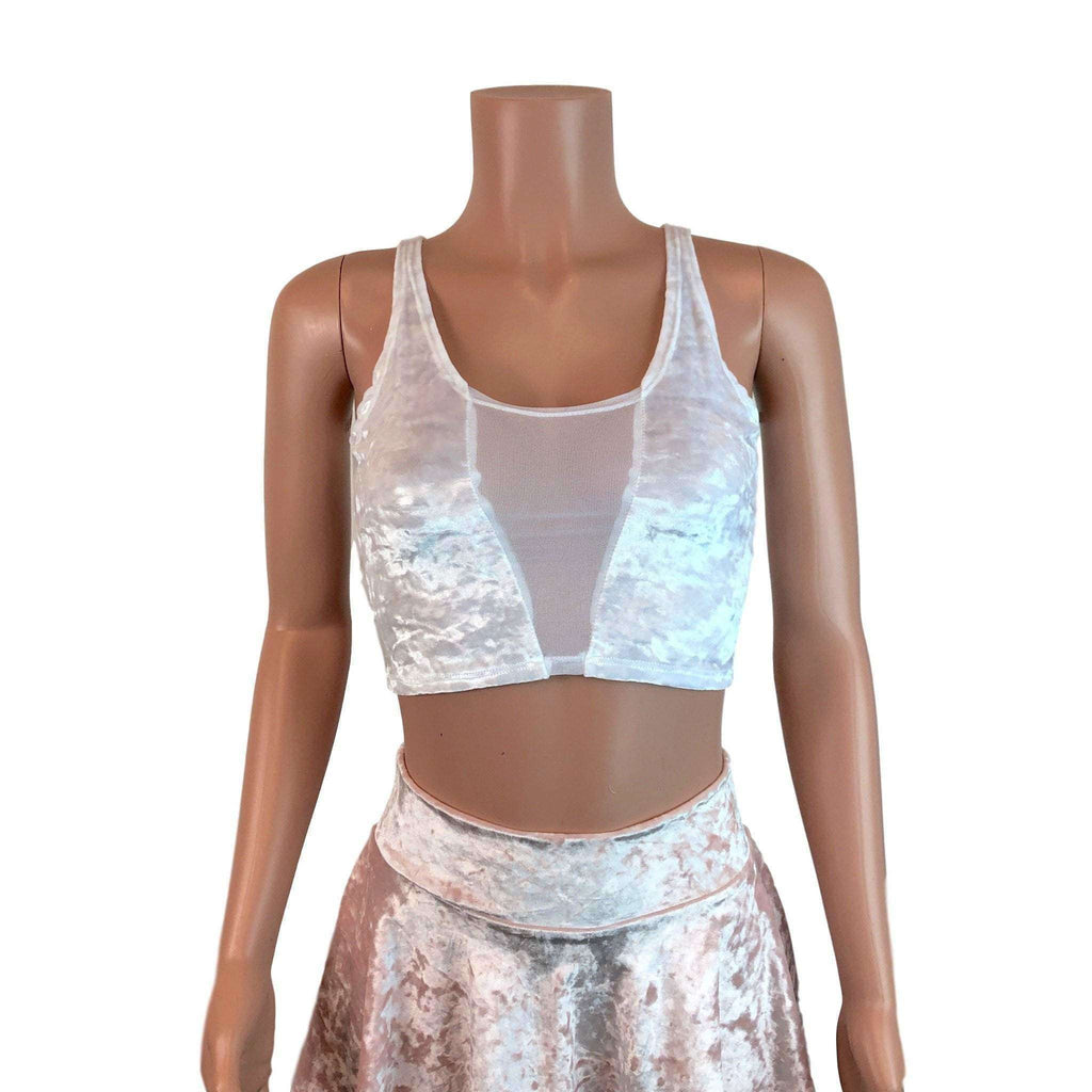Mesh Inset Crop Tank Top - White Crushed Velvet - Peridot Clothing