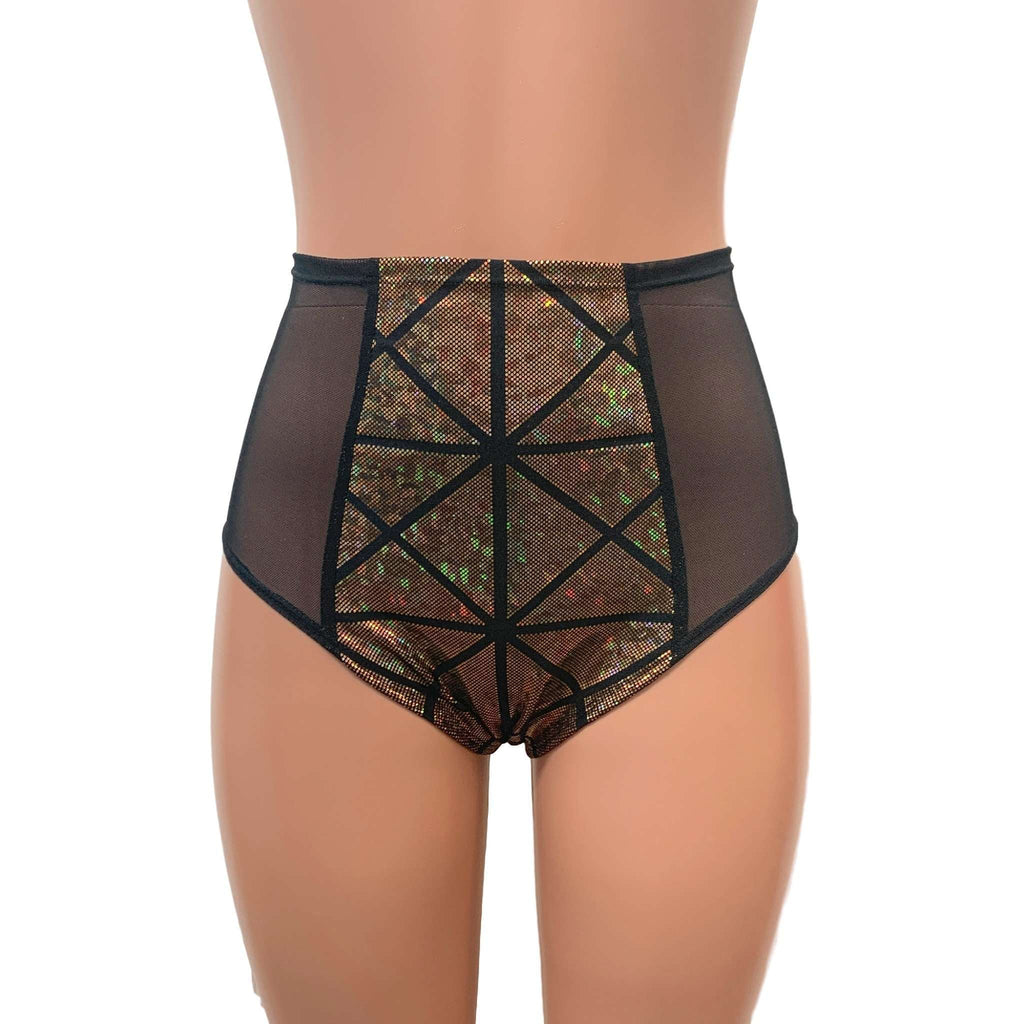 Mesh Side Scrunch Bikini - Gold Glass Pane Holographic - Peridot Clothing