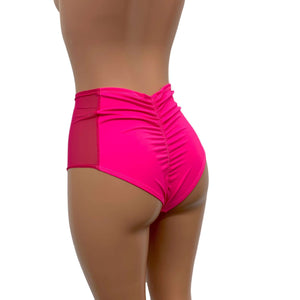 Mesh Side Scrunch Bikini - High Waist - Neon Pink - Peridot Clothing