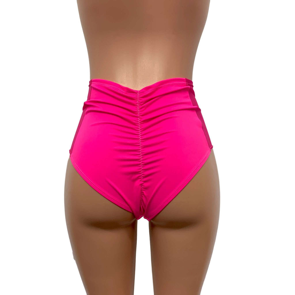 Mesh Side Scrunch Bikini - High Waist - Neon Pink,
