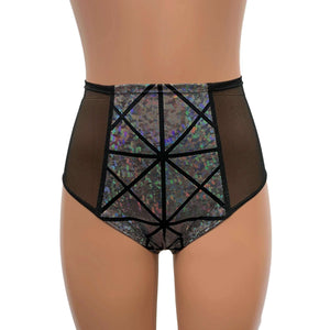 Mesh Side Scrunch Bikini - Silver Glass Pane Holographic - Peridot Clothing