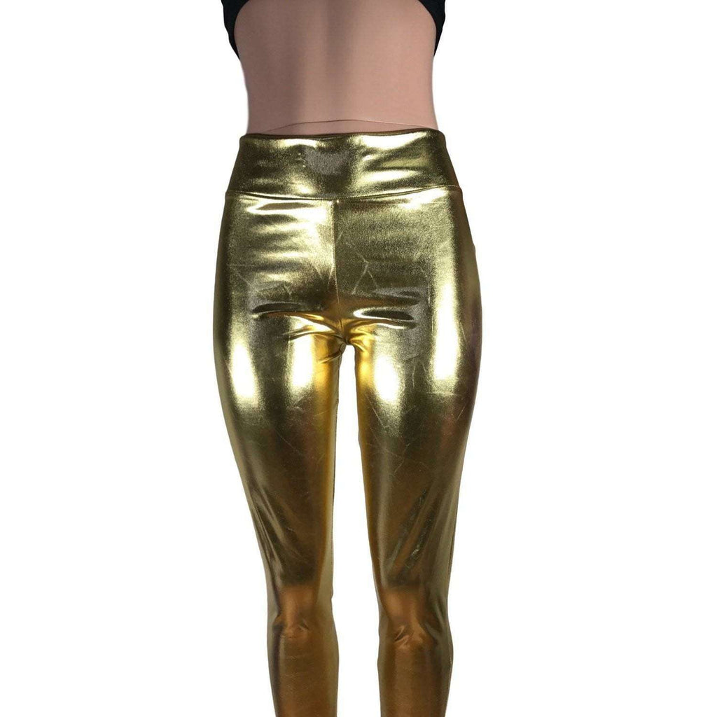 Metallic Gold High Waisted Leggings Pants - Peridot Clothing