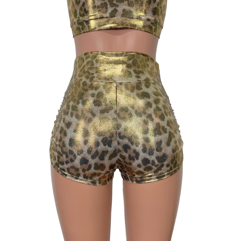 Metallic Leopard Ruched Booty Shorts - Peridot Clothing