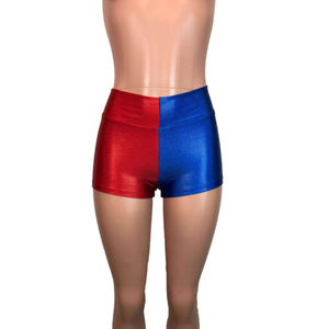 MID-Rise Booty Shorts - Harley Quinn Blue/Red Mystique - Peridot Clothing