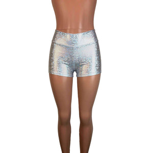 MID Rise Booty Shorts - Silver Shattered Glass - Peridot Clothing