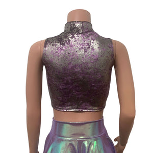 Mock Turtleneck Crop Tank Top - Plum/Gunmetal Gilded Velvet - Peridot Clothing