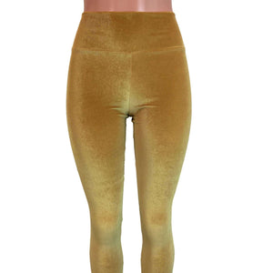 Mustard Gold Velvet High Waisted Leggings Pants - Peridot Clothing