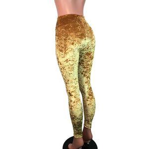 Mustard Yellow Gold Crushed Velvet High Waisted Leggings Pants - Peridot Clothing