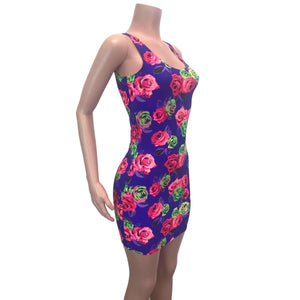 Neon Rose Floral Bodycon Dress - Peridot Clothing