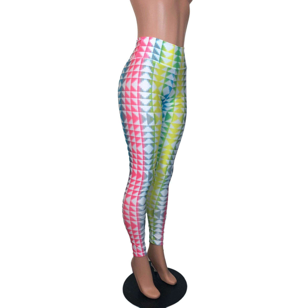 *Discontinued - Neon Tetris High Waist Leggings Pants - Final Sale SMALL - Peridot Clothing