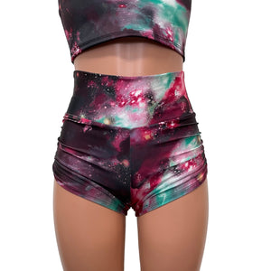 New Galaxy Ruched Booty Shorts - Peridot Clothing