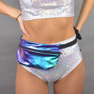 Oil Slick Holographic Fanny Pack - Rave - Festival - Hip Sack - Peridot Clothing