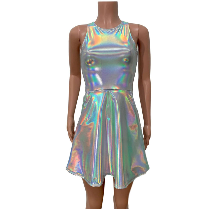 Opal Holographic A-line Mini Dress w/Pockets - Peridot Clothing