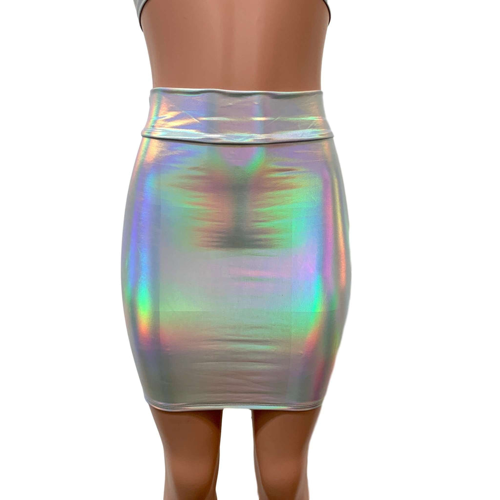 Opal Holographic High Waisted Pencil Mini Skirt, skirts