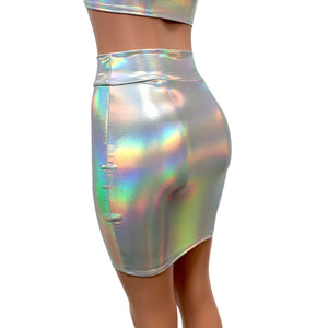 Opal Holographic High Waisted Pencil Mini Skirt - Peridot Clothing