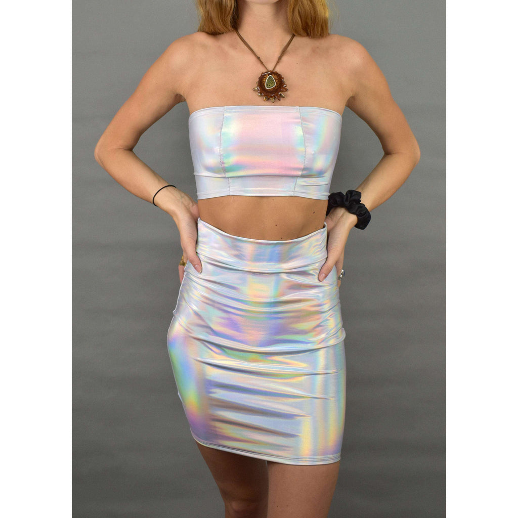 Opal Iridescent Holographic Rave Outfit Skirt/Bandeau - Peridot Clothing