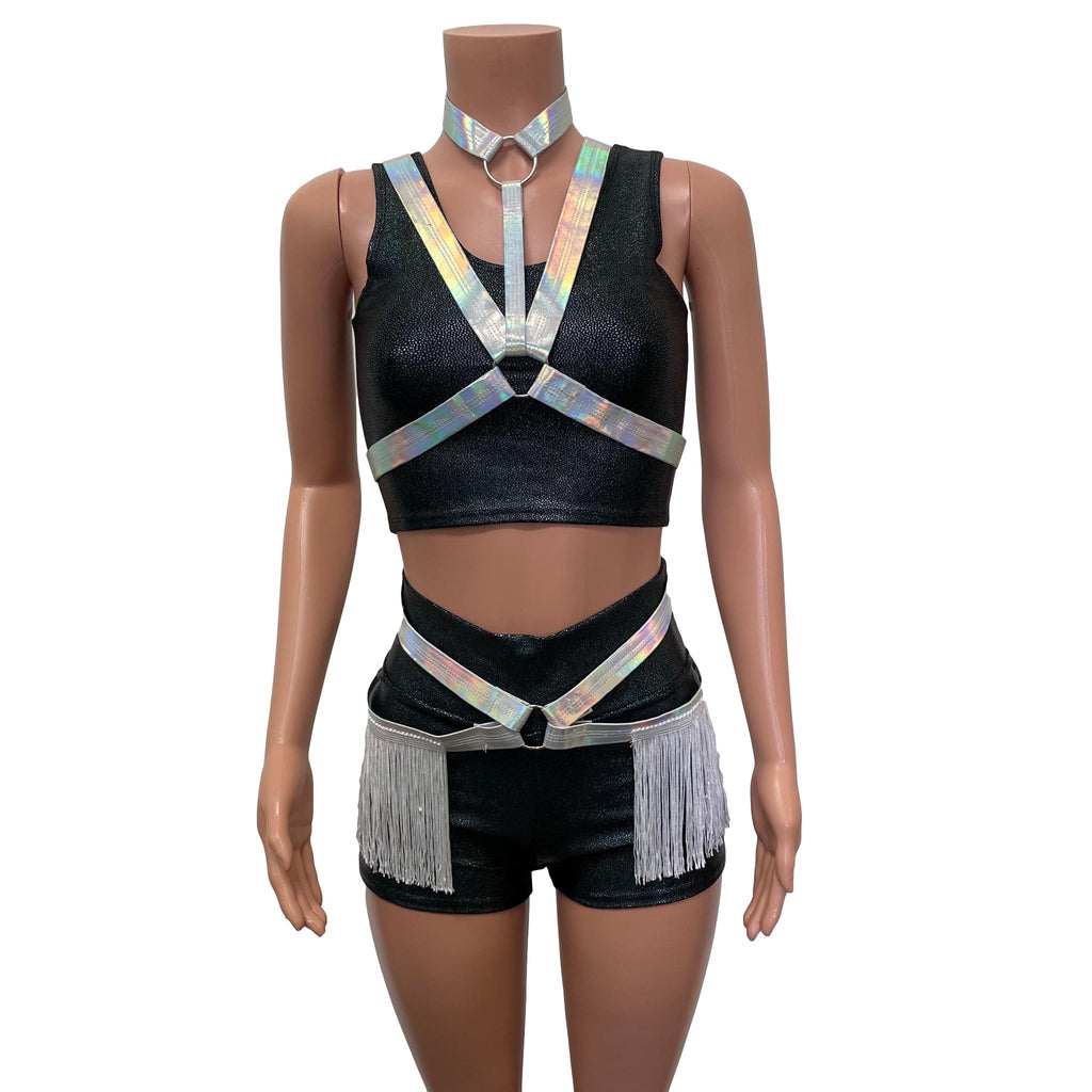 Fringe Harness Set in Opal Holographic | Cage Bra Rave Body Harness Outfit w/ Fringe Skirt and Choker - Peridot Clothing