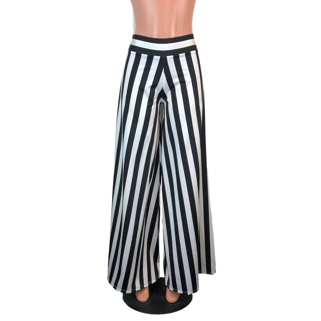 Palazzo Wide Leg Pants - Black & White Stripe - Peridot Clothing