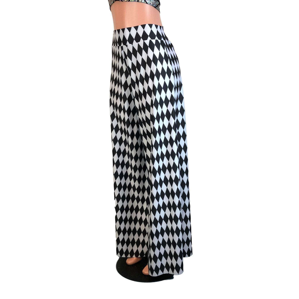 Palazzo Wide Leg Pants - Harlequin Print - Peridot Clothing