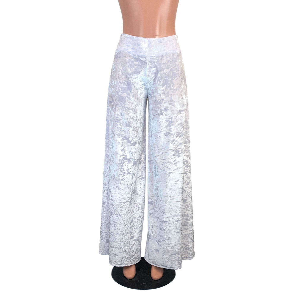 *SALE - SMALL Palazzo Wide Leg Pants - White Crushed Velvet - Peridot Clothing