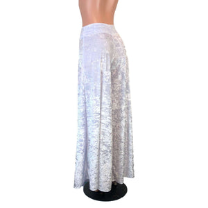 Palazzo Wide Leg Pants - White Crushed Velvet - Peridot Clothing