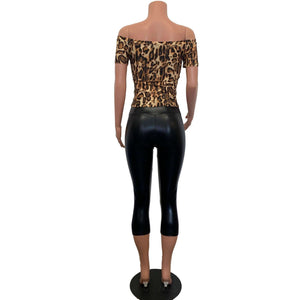 Peggy Bundy Costume - Leopard Top w/ Black Metallic Crops Outfit - Peridot Clothing