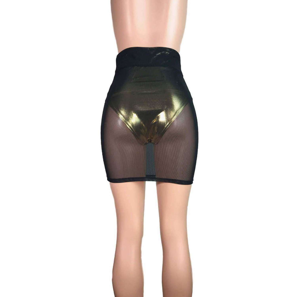 Pencil Skirt - Black Mesh - Peridot Clothing