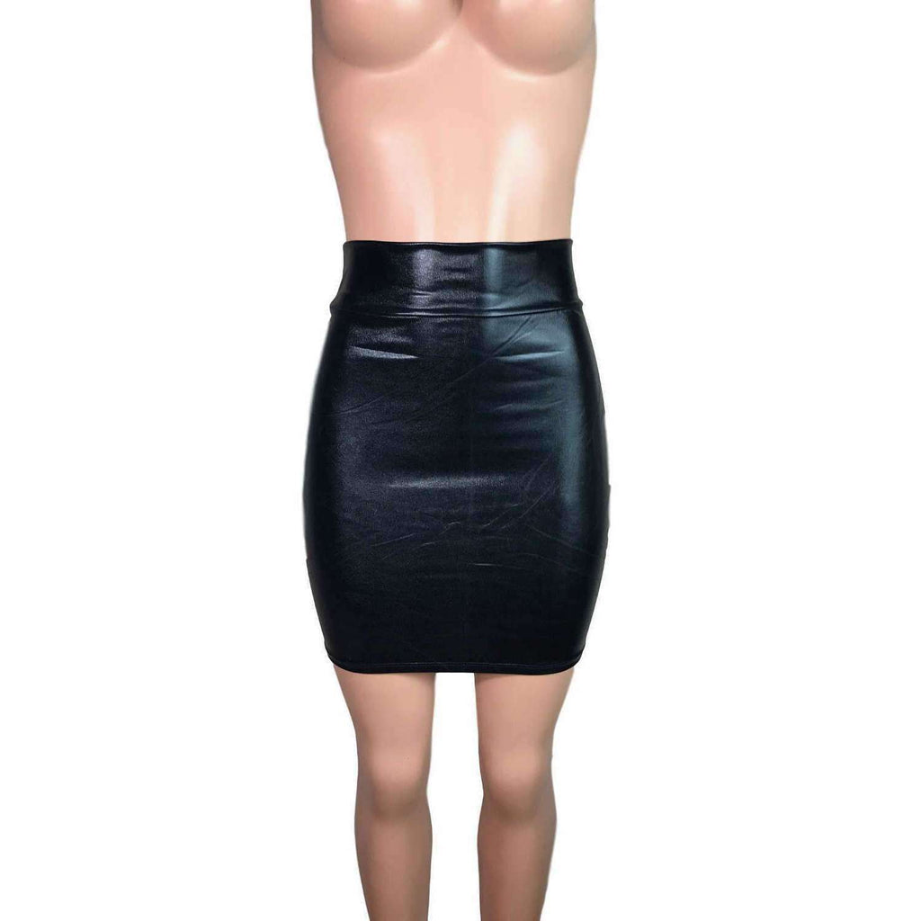 "Pencil Skirt - Black Metallic ""Wet Look"" Faux Leather - Peridot Clothing"