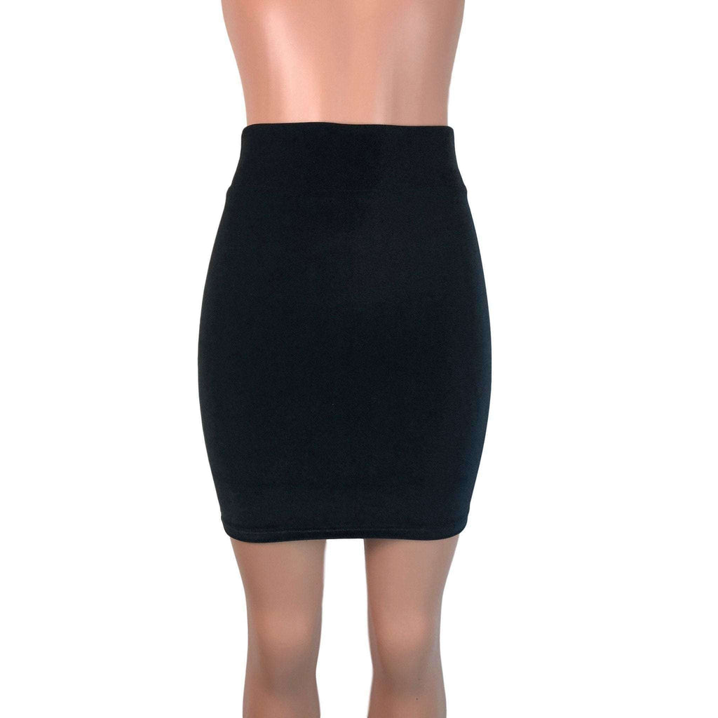 Pencil Skirt - Black Velvet - Peridot Clothing