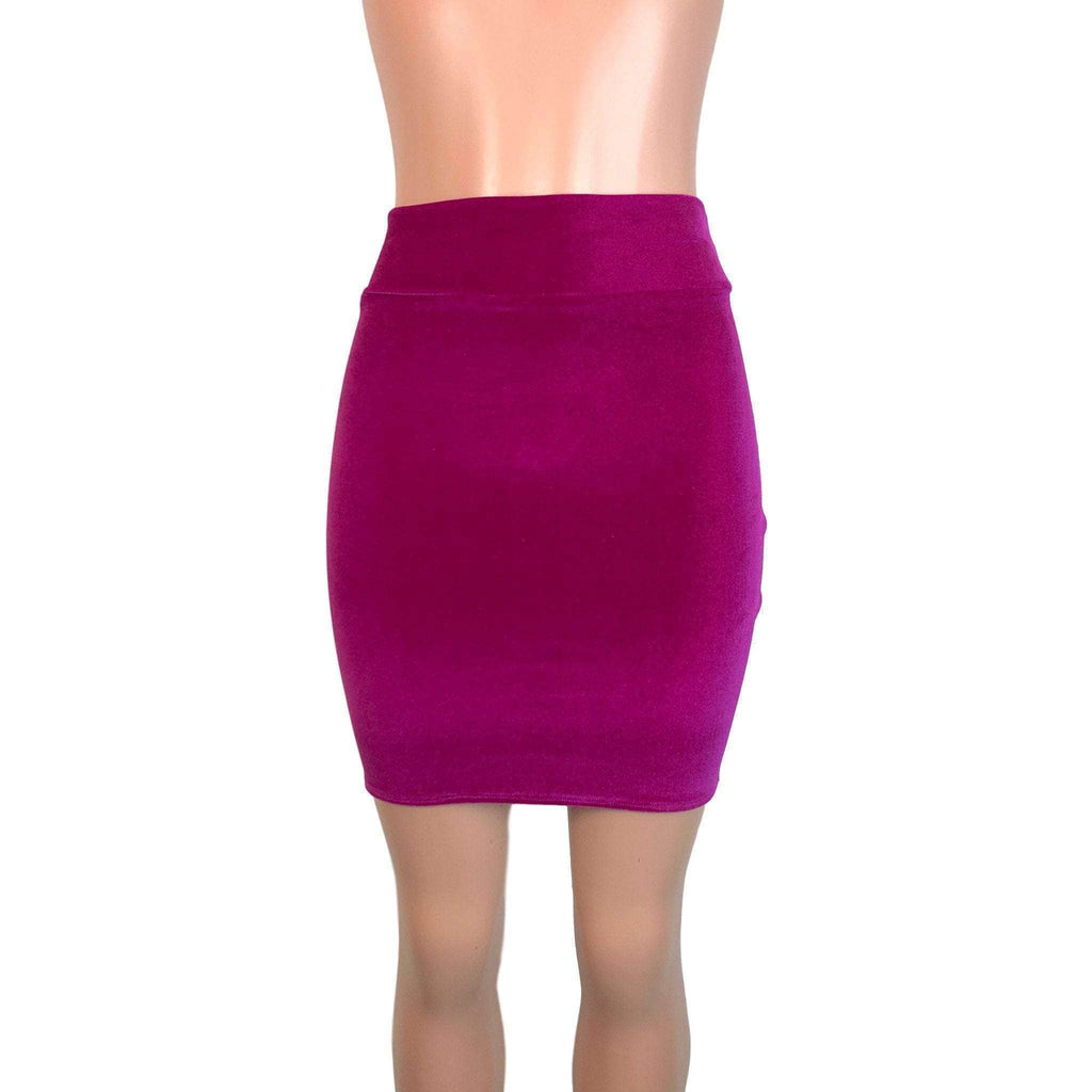Pencil Skirt - Fuchsia Velvet - Peridot Clothing