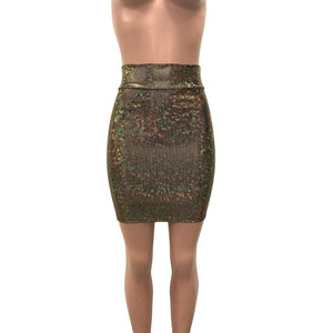 Pencil Skirt - Gold on Black Shattered Glass Holographic - Peridot Clothing