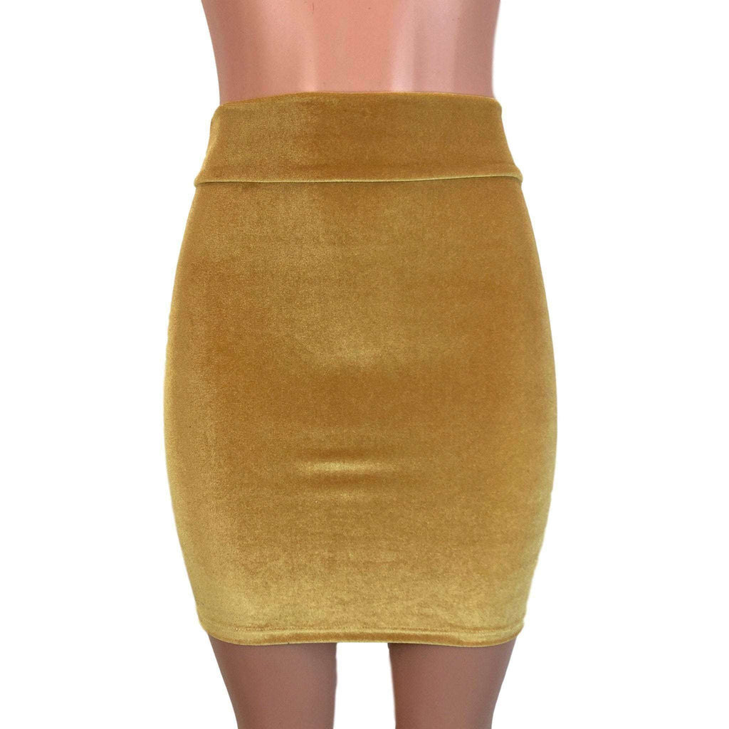 Pencil Skirt - Gold Velvet - Peridot Clothing