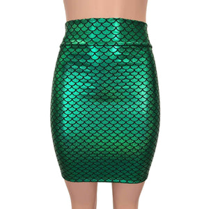 Pencil Skirt - Green Mermaid Scales - Peridot Clothing