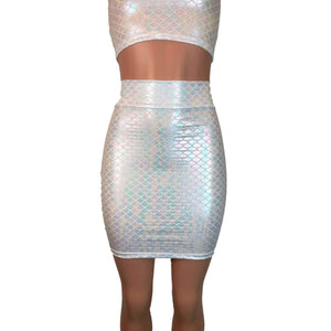Pencil Skirt - Iridescent White Mermaid Scale - Peridot Clothing