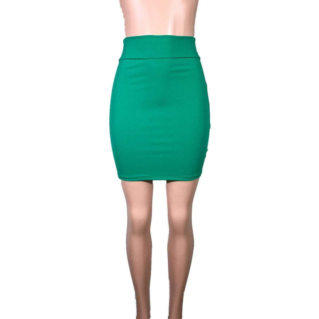 Pencil Skirt - Kelly Green Spandex - Peridot Clothing