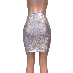 Pencil Skirt - Light Pink Shattered Glass Holographic - Peridot Clothing