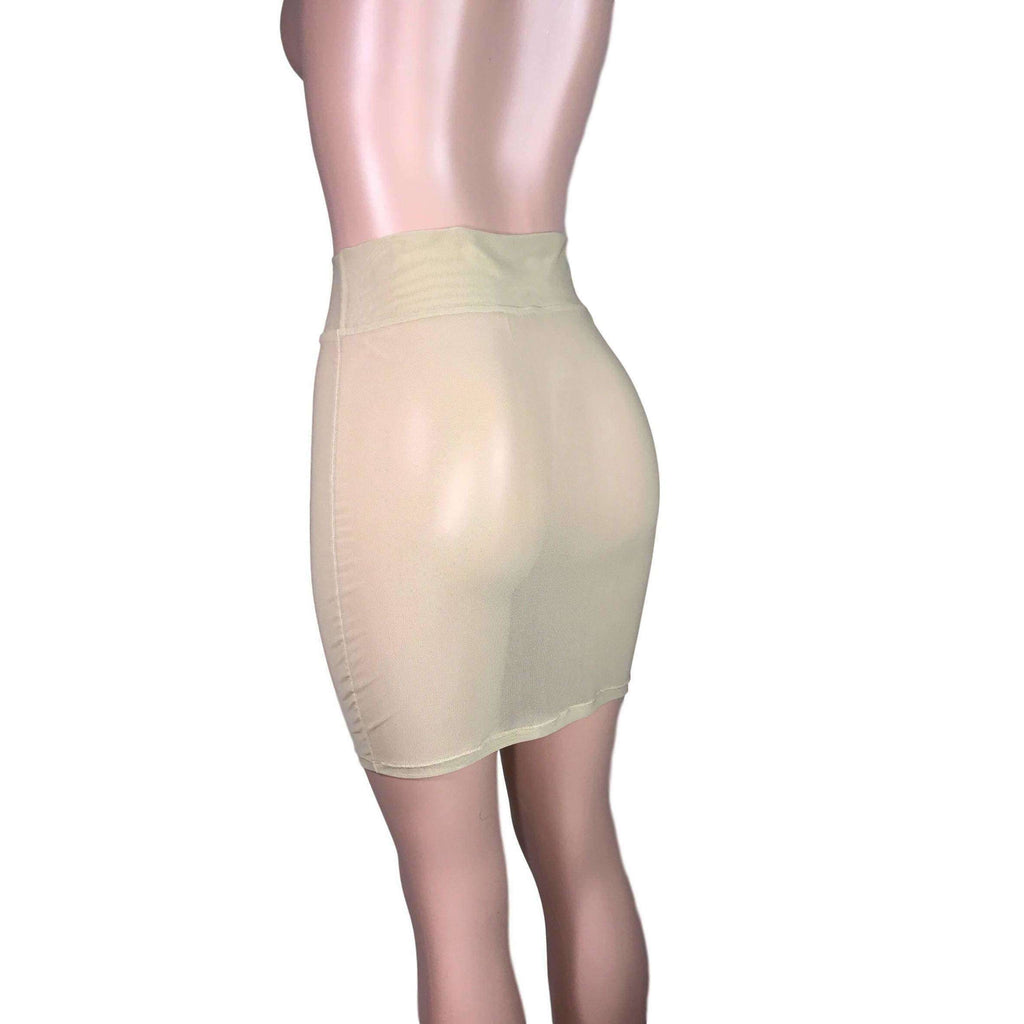 Pencil Skirt - Nude Mesh - Peridot Clothing
