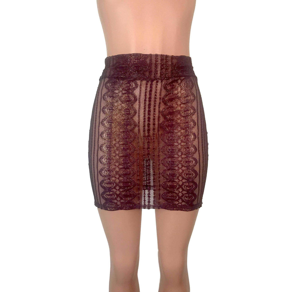Pencil Skirt - Purple Metallic Lace - Peridot Clothing