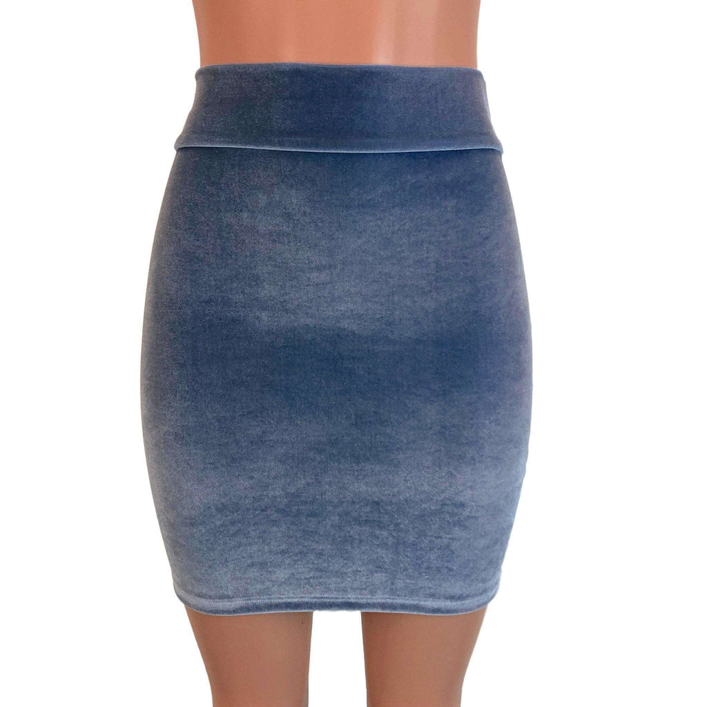 Pencil Skirt - Smoky Blue Velvet - Peridot Clothing