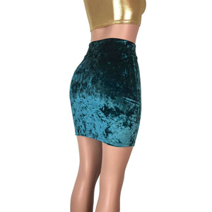 Pencil Skirt - Teal Crushed Velvet - Peridot Clothing
