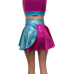 Pink and Blue Sparkle Petal Skater Skirt - Peridot Clothing