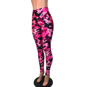 Pink & Black Camo Camouflage High Waist Leggings Pants - Peridot Clothing