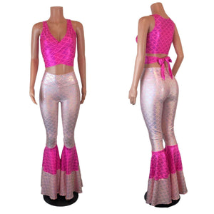Pink Mermaid Costume w/Bell Bottoms and Wrap Top - Choose your Rise - Peridot Clothing