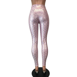 Pink Mermaid Scale Holo Holographic High Waisted Leggings Pants - Peridot Clothing