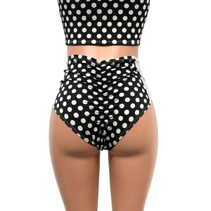 Polka Dot & White Mesh High Waist Scrunch Bikini - Peridot Clothing